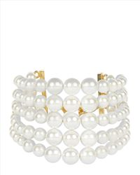 Jaeger - White Five Row Pearl Bracelet - Lyst