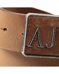 Armani Jeans - Brown Belt Bucke Logo Leather for Men - Lyst