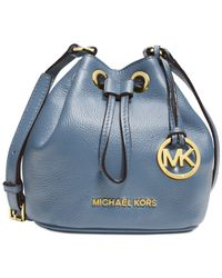 Michael Kors - Blue Jules Soft Leather Drawstring Crossbody Bag - Lyst