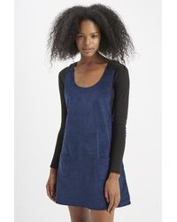 TOPSHOP - Blue Pinafore Dress By Motel - Lyst