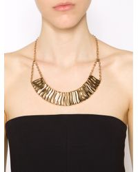 Rebecca - Metallic Wavy Necklace With Crystals - Lyst