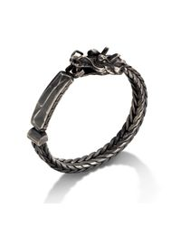 John Hardy | Black Id Bracelet With Dragon Head for Men | Lyst