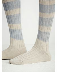 Free People - Blue Womens Hideaway Striped Otk Sock - Lyst