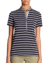 Tory Burch - Blue Lidia Patterned Polo Shirt - Lyst