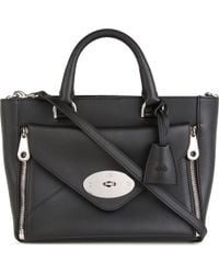 31d371fb2529 Mulberry Willow Small Silky Calf Leather Tote in Black - Lyst