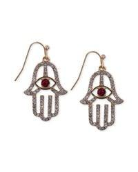 RACHEL Rachel Roy | Red Goldtone Crystal Hamsa and Evil Eye Drop Earrings | Lyst