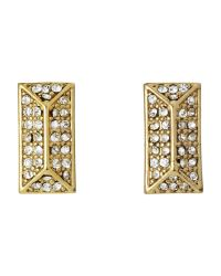Rebecca Minkoff - Metallic Gold-Tone Rectangular Earrings - Lyst