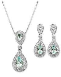 Macy's - Metallic Sterling Silver Earrings And Pendant Set, Aquamarine (7/8 Ct. T.w.) And Diamond Accent Teardrop - Lyst