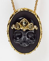 "Alexis Bittar - Elements Black Agate & Pyrite Skull Cameo Pendant, 32"" - Lyst"