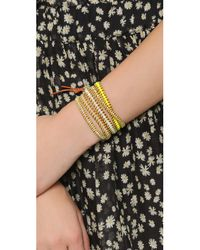 Chan Luu - Neon Beaded Wrap Bracelet - Neon Yellow Mix/natural Brown - Lyst
