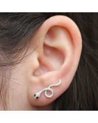 Anne Sisteron - 14kt White Gold Black Diamond Snake Ear Cuff - Lyst