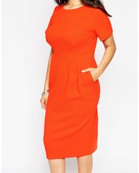 ASOS | Black Curve Midi Wiggle Dress In Texture | Lyst