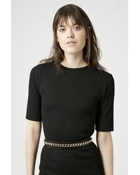 TOPSHOP | Black Whip Stitch Chain Belt | Lyst