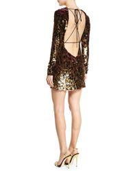 Roberto Cavalli - Metallic Sequined Leopard-print Open-back Mini Dress - Lyst