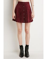 Forever 21 - Purple Contemporary Buttoned Suede Skirt - Lyst