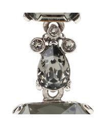 Oscar de la Renta - Gray Crystal-embellished Clip-on Earrings - Lyst