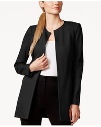 Laundry by Shelli Segal | Black Long Ponte Open-front Jacket | Lyst