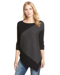 Halogen | Black Asymmetrical Wool & Cashmere Sweater | Lyst