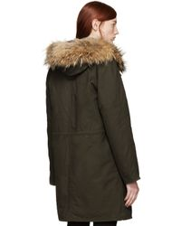 Army by Yves Salomon - Natural Khaki Fur_lined Parka - Lyst