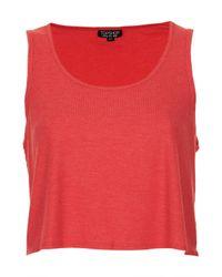 TOPSHOP - Red Rib Swing Crop Vest - Lyst