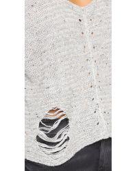 Wildfox | Gray Terra Crop Sweater - Heather Grey | Lyst