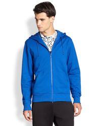 Y-3 - Blue Logo Hoodie for Men - Lyst