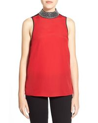 MICHAEL Michael Kors | Red Embellished Sleeveless Mock Neck Top | Lyst