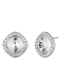 Givenchy | Metallic Clear Stone Button Stud Earrings | Lyst