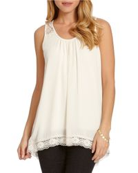 Karen Kane | Natural Lace Trim Tank | Lyst