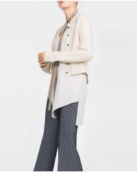 Zara | Natural Jewel Button Cardigan | Lyst