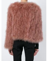 Givenchy - Brown Cropped Feathered Jacket - Lyst