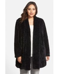 Kenneth Cole | Black 'Teddy Bear' Faux Fur Clutch Coat | Lyst