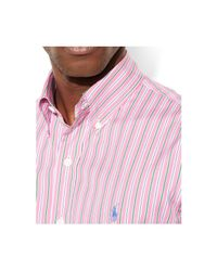 Polo Ralph Lauren - Pink Multi-Striped Cotton Shirt for Men - Lyst