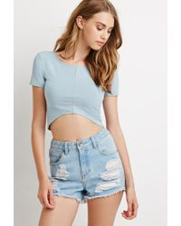 Forever 21 | Blue Curved Hem Crop Top You've Been Added To The Waitlist | Lyst