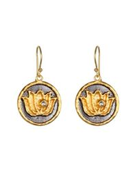 Satya Jewelry | Metallic 'lotus' Drop Earrings | Lyst