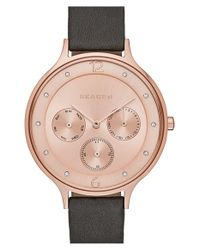 Skagen | Gray 'anita' Multifunction Leather Strap Watch | Lyst