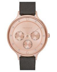 Skagen - Gray 'anita' Multifunction Leather Strap Watch - Lyst