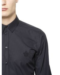 Dolce & Gabbana | Blue Crown Embroidery Cotton Poplin for Men | Lyst