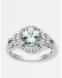 Lord & Taylor | Aqua And Diamond Ring In White Gold | Lyst