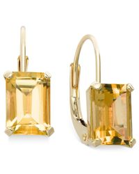 Macy's | Metallic 10k Gold Earrings, Emerald-cut Citrine Leverback Earrings (3/4 Ct. T.w.) | Lyst