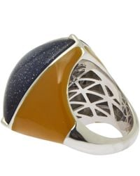 Eddie Borgo | Blue Navy Three Side Pyramid Sandstone Ring for Men | Lyst