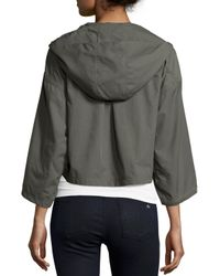 Joie - Gray Marlin Cropped Nylon Anorak Jacket - Lyst