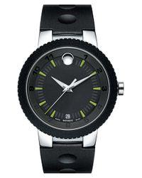 Movado - Black Rubber Bezel Rubber Strap Watch for Men - Lyst