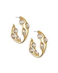 Kenneth Jay Lane | Metallic Cuff Earrings W/ Rhinestones | Lyst