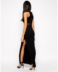 ASOS | Black Cross Front Halter Mesh Maxi Dress | Lyst
