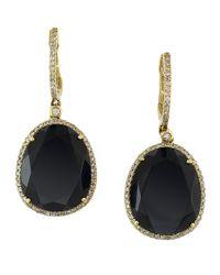Effy - Black 14Kt. Yellow Gold Onyx And Diamond Earrings - Lyst