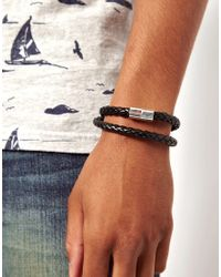 ASOS - Black Plaited Bracelet With Magnetic Clasp for Men - Lyst