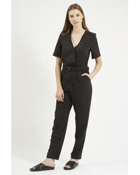 a902a0102ea Lyst - TOPSHOP Tall Judo Wrap Jumpsuit in Black
