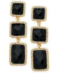 T Tahari | Gold-tone Black Stone And Crystal Triple Drop Earrings | Lyst