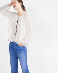 Zara | White Embroidered Shirt | Lyst